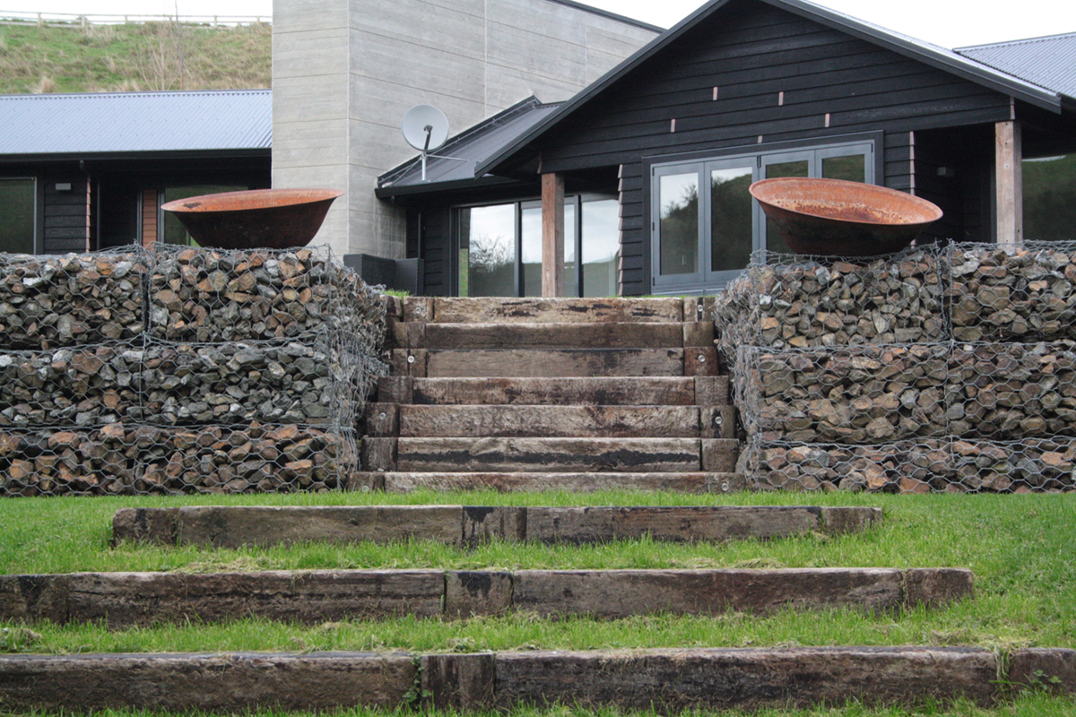 Total Landscape Solutions Construction Stone baskets railway & sleeper stairs